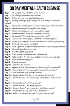 healt cleanse 30 Day Mental Health Cleanse See more details + guide on lazygirl.us - Take part in my 30 Day Mental Health Cleanse! Simple, accessible, and eye opening daily tasks to help you regain control of your mental health. via Leslie Mental Health Journal, Mental Health Help, Mental Health Awareness Month, Vie Positive, Journal Writing Prompts, Health Cleanse, Self Care Activities, Self Improvement Tips, Self Care Routine