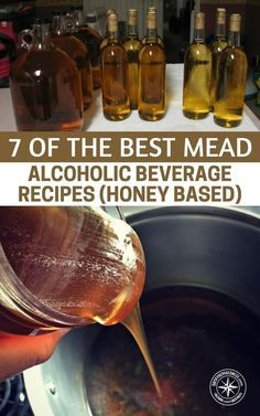 Homebrewing cider 7 Mead Alcoholic Beverage Recipes ( Honey Based ) Similar to grape wine, mead can be dry, semi-sweet, or sweet. My favorite is the sweet . Just writing this I think I need to be making another batch. Homemade Wine Recipes, Homemade Alcohol, Homemade Liquor, Brewing Recipes, Homebrew Recipes, Honey Mead, Mead Wine, Mead Recipe, Honey Wine