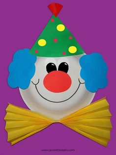 carterie, pergamano et tableaux - Page 21 clown van karton bord Kids Crafts, Clown Crafts, Carnival Crafts, Summer Crafts, Toddler Crafts, Preschool Crafts, Paper Plate Crafts, Paper Plates, Art N Craft