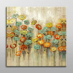 Hand Painted Foral  Painting with Stretched Frame Ready to Hang