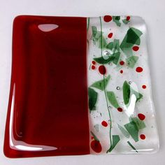 Christmas fused glass candle dish or plate in by SugarLipsGlass