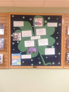 March library bulletin board. Saint Patrick's day, Doctor Seuss's birthday, spring...