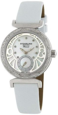 d02ca1fe5 Stuhrling Soiree 504.1215P7 Stainless Steel Diamond & MOP 34mm Watch White  Satin, Stainless Steel