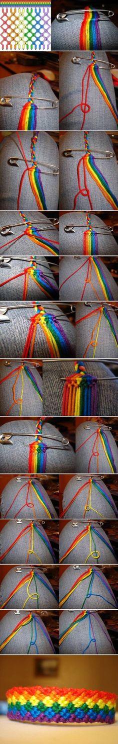 How to DIY Weave Rainbow Color Baubles Bracelet #craft #fashion #bracelet