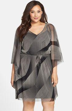 London Times Print Kimono Sleeve Drawstring Waist Dress (Plus Size) available at #Nordstrom