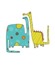 Boys Nursery Art Print Dinosaurs by ArtByKellie on Etsy