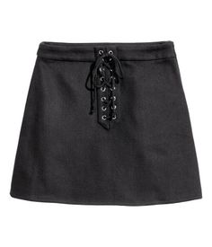 H&M Skirt with Lacing $25 :: Short A-line skirt in textured, woven fabric with decorative lacing at front and concealed side zip. Unlined.
