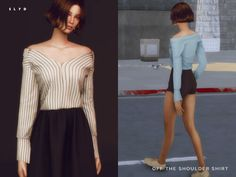 Off The Shoulder Shirt for The Sims 4