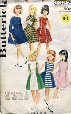 Sewing Patterns,Vintage,Out of Print,Retro,Vogue Simplicity McCall's,Over 7000 - Butterick 3022 Retro 1960's Semi Princess Girl's Dress 8