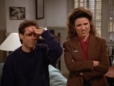 "Jerry and Elaine express their displeasure at George's rendition of the line, ""These Pretzels are making me thirsty."""