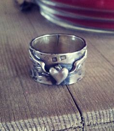 Ring, sterling silver heart and wings