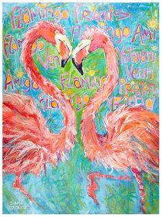 "Daily Paintworks - ""Flamingo Friends"" - Original Fine Art for Sale - © Leoma Lovegrove"