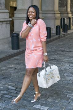 Rocking my favorite style dress- a shift in a fresh color and print for the summer.  see more of the look @ kelaskloset.com