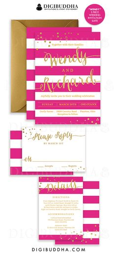 Elegant modern raspberry pink & gold stripe wedding invitations in a 3 piece suite including hot pink RSVP reply card and Details / Info enclosure card. Coordinating backers, gold glitter confetti sparkle details. Color envelopes, envelope liners and belly bands also available. digibuddha.com