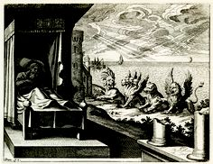 """Daniel's prophecy of the ancient kingdoms. Engraving from """"Merian's Illustrated Bible, c. 1627. © The Art Archive."""