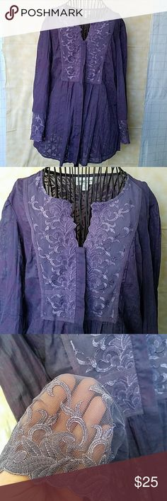 Purple Coldwater Creek top Beautiful burn out style lace embellished top.  It has a semi sheer look best worn with a cami or tank.  Has concealed button closures.  In excellent pre owned condition. Coldwater Creek Tops Blouses