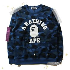 e7c5bbfd4fe4 BAPE A Bathing Ape Blue Camo Sweatshirt Sweathsirts come with all BAPE tags  and bags. Very comfortable o-neck fit.