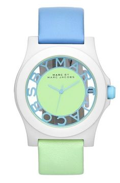 MARC BY MARC JACOBS 'Block' Two-Tone Leather Strap Watch, 41mm | Nordstrom