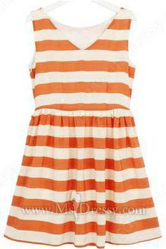 Orange White Striped V-neck Sleeveless Chiffon Dress