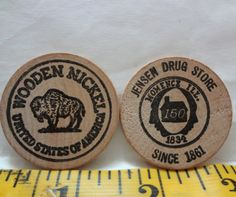 Pair Of Vintage Wooden Nickels Jensen Drug Store Momence Illinois Light Wear 1.5 inches Around  X 1/8 Inch Thick