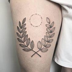 @_mfox dotwork tattoo half laurel half acasia