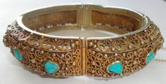Antique-Chinese-Export-Silver-Gold-Wash-Turquoise-Filigree-BRACELET-Gorgeous