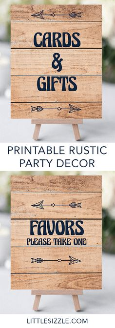 Rustic party ideas by LittleSizzle. Decorating your baby shower is almost as fun as the party itself! With these rustic wood and navy DIY signs you will add a really great touch to any adventure forest or woodl Baby Shower Party Favors, Baby Shower Signs, Boy Baby Shower Themes, Baby Shower Centerpieces, Baby Shower Parties, Baby Boy Shower, Baby Shower Decorations, Baby Shower Invitations, Bridal Shower