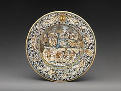 Possibly painted by Francesco Grue | Dish, first half 17th century | Italian, Castelli | The Met Museum #NYC Gift of Julia A. #Berwind 1953  #art #artwork #antique #museum