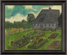 Artwork Primitive Cottage with Garden Left-Hand New SC-857