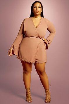 Wrap-Front romper curvy fashion, girl fashion, womens fashion, plus size fa Plus Size Fashion For Women, Curvy Women Fashion, Plus Size Women, Plus Size Dresses, Plus Size Outfits, Wedding Dresses For Curvy Women, Plus Size Inspiration, Fashion Inspiration, Looks Plus Size