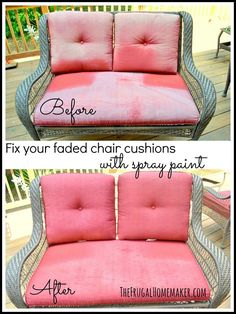Fix your faded chair cushions with spray paint
