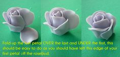 quick and easy gumpaste roses Fondant Flower Tutorial, Fondant Flower Cake, Fondant Rose, Rose Tutorial, Fondant Icing, Fondant Cakes, Fondant Baby, Cake Decorating Piping, Cake Decorating Kits