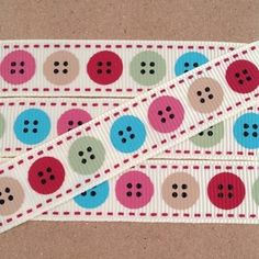 Printed Ribbon-Berties Bows -Multicoloured -Buttons-16mm Grosgrain from www.thefabricandcraftcompany.co.uk