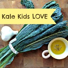 Kid Friendly Kale Recipes: made the Kale chips. used curly edge kale. eating the curls feels funny! Veggie Recipes, Real Food Recipes, Cooking Recipes, Healthy Recipes, Kid Recipes, Cooking Food, Veggie Food, Skinny Recipes, Drink Recipes