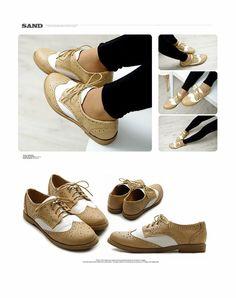 c2f2bce6cf7 ollio Women Flat Loafer Wingtip Lace Up 2 Tone Oxford Shoes on Wanelo