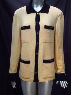 St. John Yellow Black Santana Knit Blazer Jacket  Logo Buttons - Medium  * #StJohn #Blazer