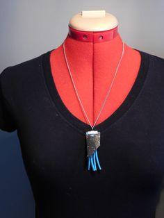 leather tassel necklace, leather tassel, leather fringe necklace, recycled leather,tassel rocker necklace, leather tassel necklace, gift - pinned by pin4etsy.com