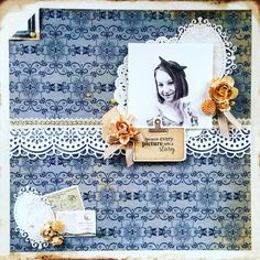 Kaisercraft : Storybook Collection : Every Picture.layout by Amanda Baldwin Vintage Scrapbook, My Scrapbook, Picture Layouts, Paper Doilies, Wooden Shapes, Ink Pads, Smash Book, Vintage Books, Scrapbooking Layouts