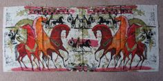 "Vintage Linen 50's Etruscan Equestrian Horses 23"" x 54"" Mid Century Art Fabric"
