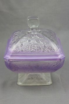 VINTAGE PURPLE DEPRESSION GLASS CANDY DISH EMBOSSED ACORN PATTERN