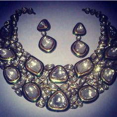 Polki bib #set #necklace #uncut #diamonds #earrings