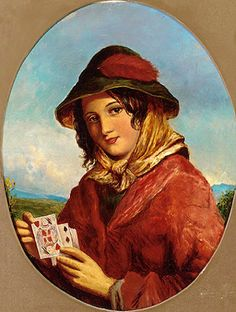 Kártyavető fiatal cigánylány - Anglia XIX. sz. * Minden, ami cigánykártya: Lapok jelentése, vetési módok, időt jelző lapok, asztrológiai összefüggések, képek, videók... http://www.ciganykartya.eu * Fortune teller * Gipsy Magic