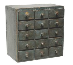 spice chest w/dovetailed pine case, original blue painted finish,  c. 1830