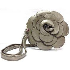 Rare Handmade Designer Raised Flower Purse Round shaped Adjustable Strap Bag Pouch Wristlet Rose Wallet Handbag Pewter Color Clutch Faux Leather Tote Chic 3D Flower with Adjustable Strap --- http://www.amazon.com/Handmade-Designer-Adjustable-Wristlet-Handbag/dp/B006N8XSAC/?tag=alasmarkexp-20