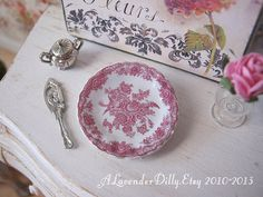 Pink Bristol Plate for Dollhouse by ALavenderDilly on Etsy