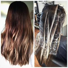 3rd session freehand painted balayage hair from black to dimensional salted caramel #balayage #caramel #ombre #brunette