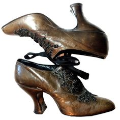 Cocoa Brown Leather Lace Up Heels w/ Jet Beaded Bow circa Late 1800s Dorothea's Closet Vintage Clothing
