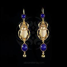 Askew London Long Scarab Beetle Cobalt Blue Glass Earrings (ASK25) | Alexandra May Jewellery
