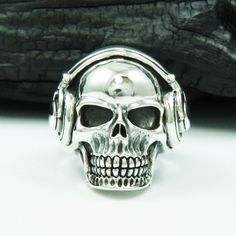 HEADPHONE SKULL DJ 925 STERLING SILVER US Size 9.5 MEN'S BIKER RING nd-r006 #Handmade