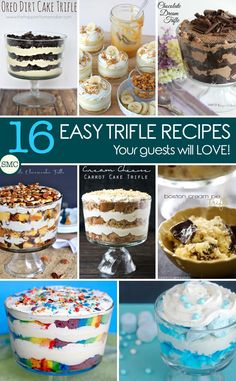 Oh my these easy trifle recipes are just what we need for Holiday season. iSo many chocolate trifles and fruit trifles to choose from. Fruit Trifle, Köstliche Desserts, Best Dessert Recipes, Sweet Recipes, Delicious Desserts, Yummy Food, Chef Recipes, Rainbow Desserts, Fruit Dessert